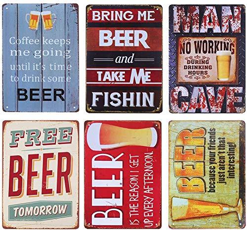 Placa de metal retro para decoración de pared de jardín, decoración de metal para exteriores, placa de póster, cartel de bar, cochera, decoración de cueva, 30 x 20 cm, 6 piezas