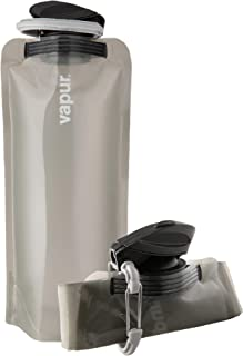 Vapur Solid Flexible Water Bottle - with Carabiner, .70 Liter (23 oz) - Translucent Grey