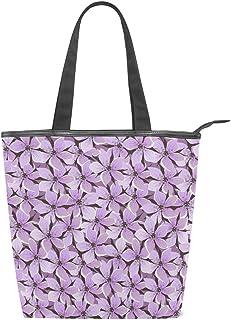 Mnsruu Große Handtasche aus Segeltuch, für den Strand, für Reisen, Einkaufen, Schultertasche, Vintage-Blumendruck, Lila, Sommerurlaub, Reißverschluss