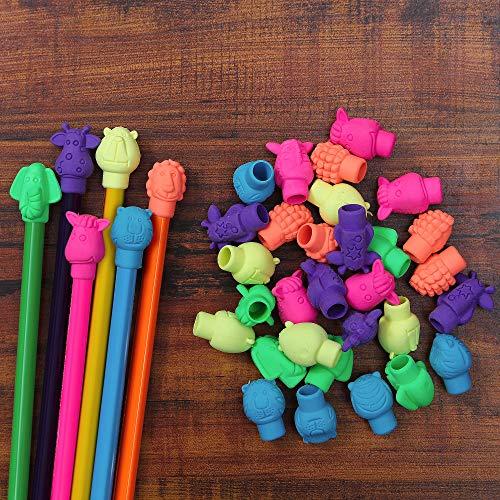 Pencil Cap Eraser, Gift for Children, Animal Cap Eraser, 48 Pack Pencil Top Erasers, Cute Eraser, School Supplies, Colorful Eraser
