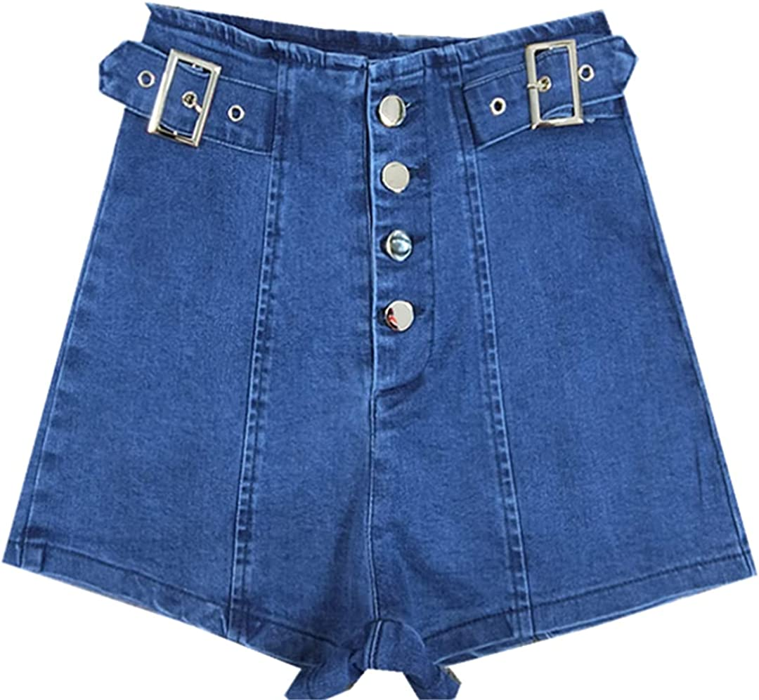 Do-Fashion Women Short Jeans with Single Breasted Summer High Waist Casual Belted Wide Leg Denim Shorts