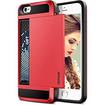 Vofolen Case for iPhone 6 Plus Case iPhone 6S Plus Case Wallet Impact Resistant Anti-Scratch Protective Shell Shockproof Rubber Bumper Cover Card Slot Holder Case for iPhone 6 Plus 6S Plus - Red