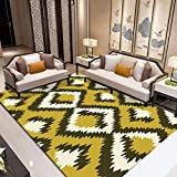 LMDY Alfombra para el hogar nórdico Moderno Minimalista Sala de Estar sofá Dormitorio Manta de Noche Estudio patrón geométrico Alfombra de Pisoamarillo50*80cm