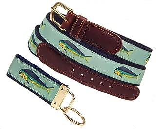 Preston Leather Mahi Mahi Ribbon Belt, Mint, Sizes 30 to 50, FREE Matching Key Ring