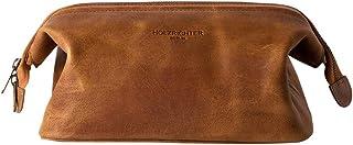 HOLZRICHTER Berlin handgefertigter Leder Kulturbeutel M. Große, hochwertige Kulturtasche aus Leder in Camel-braun
