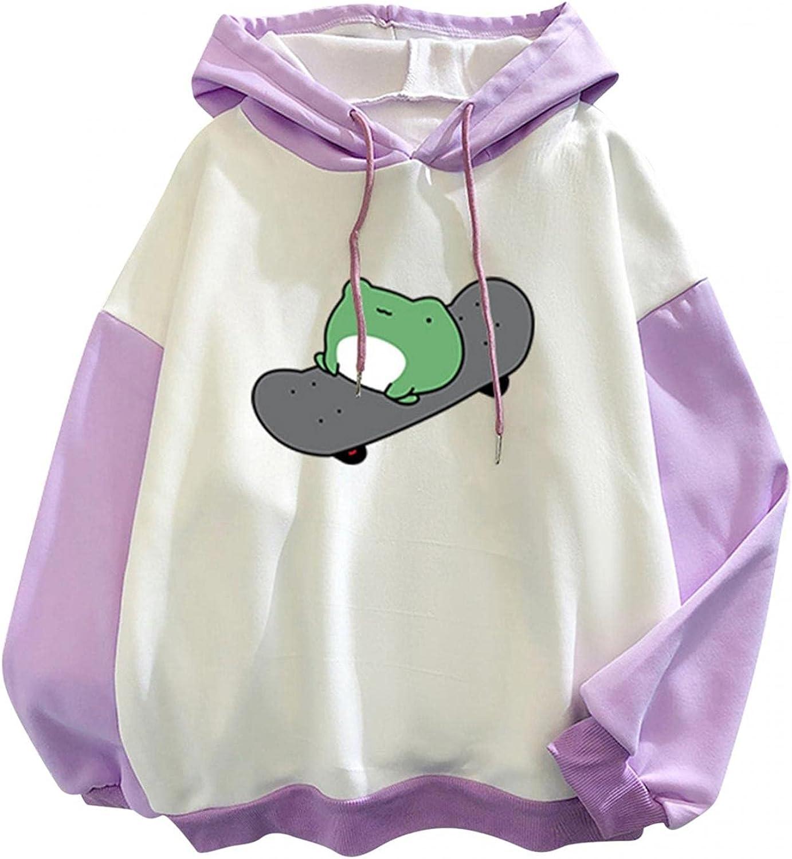 Women Sweatshirts,Women's Fashion Hoodies & Sweatshirts Lightweight Cute Frog Graphic Teens Girls Drawstring Pullover