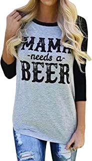 Women Mama Needs A Beer Casual 3/4 Sleeve Mom Shirt Top Tee T-Shirt for Mom Gifts