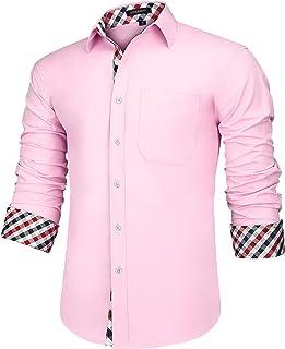 HISDERN Camisa para Hombre Casual Formales Clásico con Botones Camisas de Vestir Cuello de Manga Larga Ajuste Regular