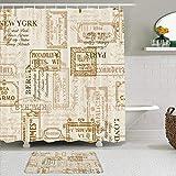 Juego de cortinas y tapetes de ducha de tela,Berlín York Vintage Servilleta Street Fashion Pattern París Belleza Roma,cortinas de baño repelentes al agua con 12 ganchos, alfombras antideslizantes