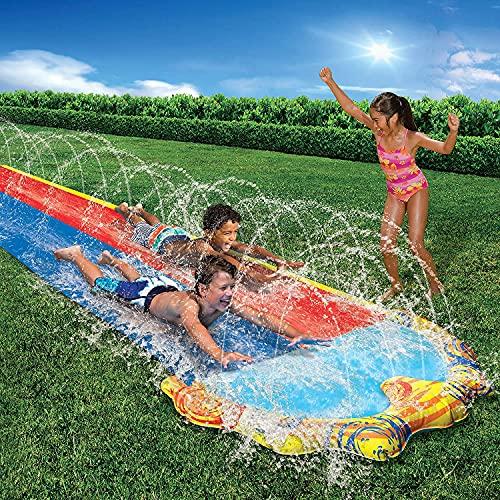 Water Slides for Kids Garden Pool– Double Lane Slip and Slide for Kids...