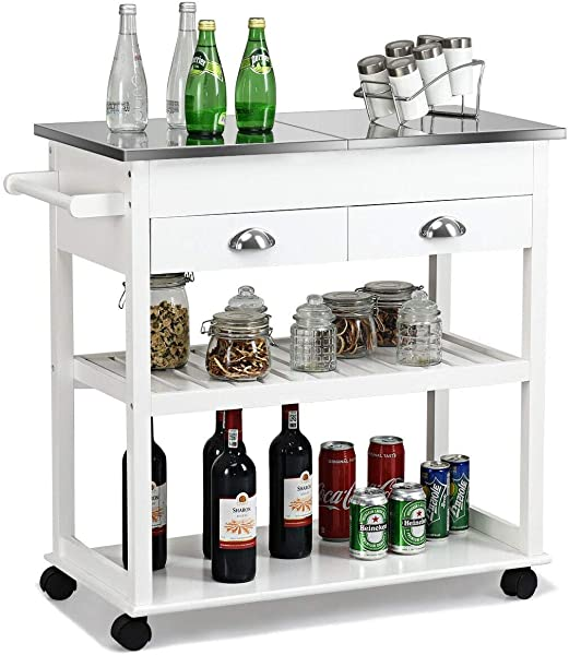 White Clean Elegant Modern Design Rolling Kitchen Island Trolley Cart Flip Top Open Lifting Up More Space 2 Drawer Tower Hanger 2 Tier Storage Utility Products Cabinet Shelves Home Improvement