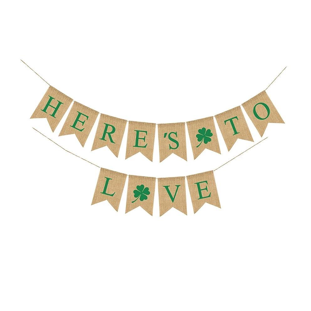 Vintage Wedding Burlap Banner BESTOYARD HERE'S TO LOVE Irish Shamrock Banner Garland St. Patrick's Day Decorations