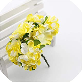 Old street 6 pcs Gift Box Scrapbooking Mini Carnation Paper Artificial Flowers Bouquet for Wedding Decoration DIY Wreath Craft Fake Flower,Yellow