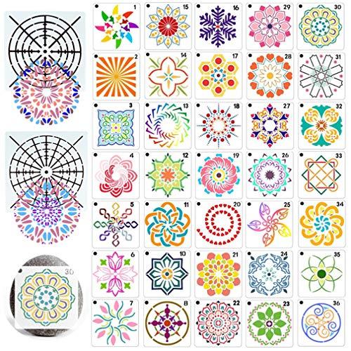 RuiChy 38 Piezas Plantillas de Mandala para Pintar, Reutilizable Plantillas de Pintura Mandala Dotting Pequeña Plantillas de Segmentos por Bricolaje Madera Pared Pintura Rupestre Proyectos de Arte