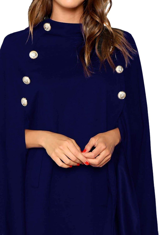 MakeMechanic eleganter Poncho mit zwei Knöpfen, Mantel Navy