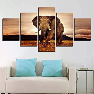 TYUIOP Modular Canvas HD Prints Oil Painting Mural Pictures 5 Pieces Animal Elephant Sunset Landscape Poster Living Room D...