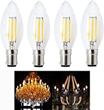 Bonlux Vintage LED Globes Filament Candle Lamp B15 COB LEDs Candelabra Bulbs 2700K 4W Equivalent to 40W Small Bayonet Incandescent Light Bulbs for Chandelier Pendant Ceiling Fan Decoration Lights (4-pack Warm White)