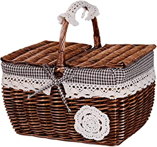 5CD1 Storage Basket Woven Basket Picnic Fruit Basket Outing Portable Handle Folding Cover Cotton Lining Hand Weaving Beautiful and Durable Wicker Outdoor (Color : Brown, Size : 40X30X30CM)