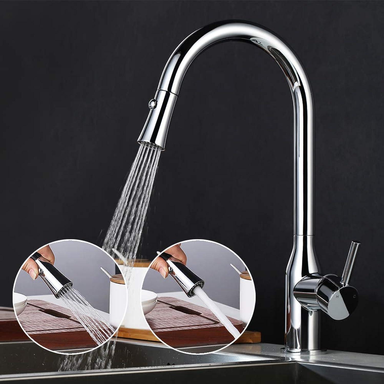 Desfau 2-Strahlen Wasserhahn Küche Armatur mit ausziehbarer Brause Küchenarmatur Mischbatterie Spülbecken Spültischarmatur, chrom