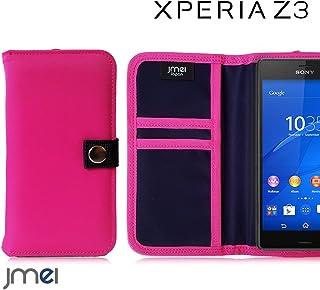 XPERIA Z3 SO-01G/SOL26 ケース JMEIオリジナルMA-1手帳ケース GAEA ホットピンク エクスペリア z3 docomo au Sony スマホ カバー スマホケース 手帳型 ショルダー 耐衝撃 スマートフォン カードホルダー