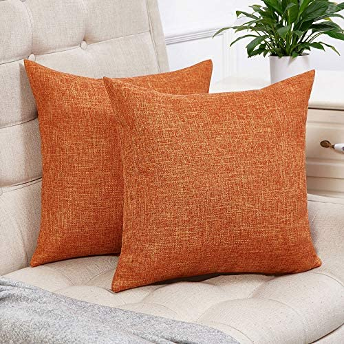Best Anickal Set of 2 Fall Orange Pillow Covers Cotton Linen Decorative Square Throw Pillow Covers 18x18
