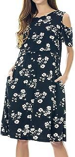Ansenesna Femmes Maternit/é sans Manches Grossesse Robe Florale Robe D/éT/é D/éContract/éE
