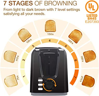 2 Slice Toaster, Multifun Stainless Steel Toaster with Warm Rack, Removable Crumb Tray, 7 Bread Shade Settings, Reheat/Cancel