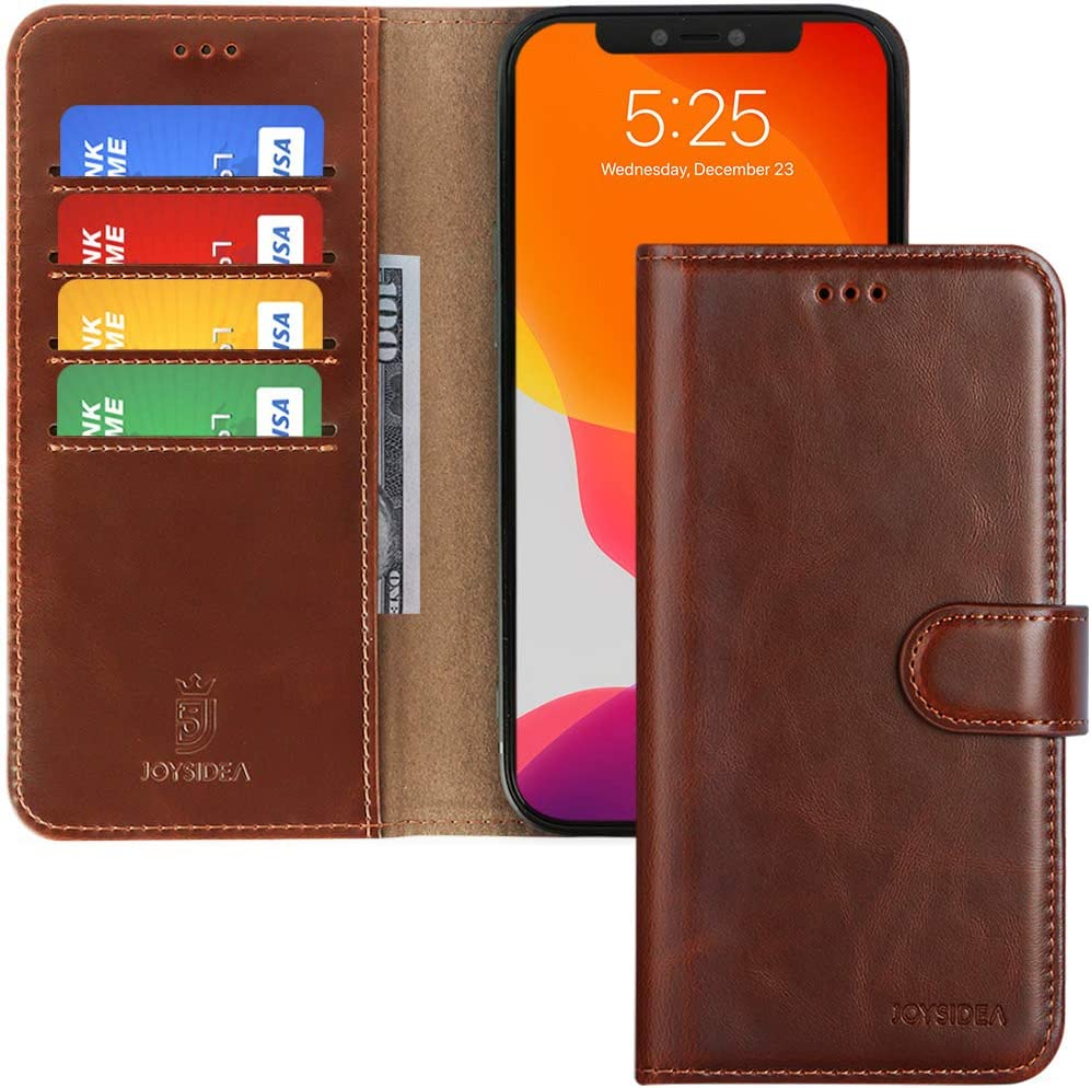 JOYSIDEA iPhone 12 Pro Max Leather Wallet Case, Premium PU Leather Flip Folio Case with 4 Card Holder, Kickstand and Shockproof TPU Cover for iPhone 12 Pro Max 6.7 inch, Brown
