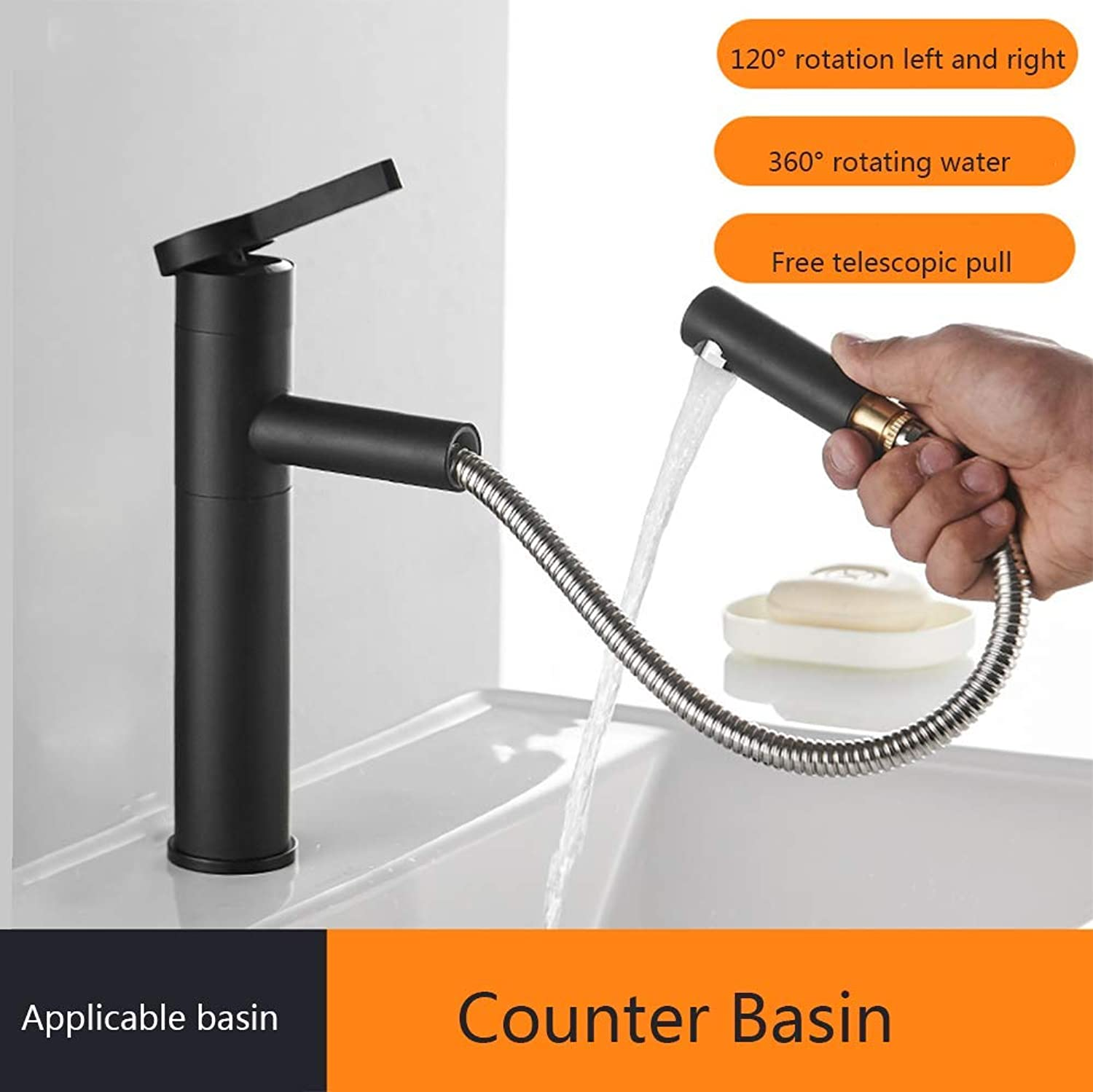 Black Copper Basin hot and Cold Water Faucet, redatable and Washable washbasin washbasin Telescopic Faucet,A1