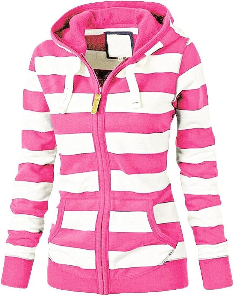 Women Sweatshirts, Teen Girls Casual Long Sleeve Tripe Printed Hoodie Pullover Jumper Hoodies with Pocket Cardigan