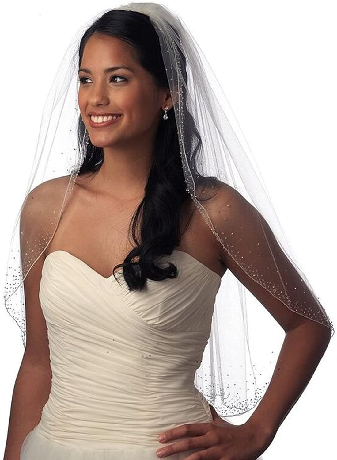 TopSexy One Tier Lined All Over Beaded Edge Wedding Bridal Veil With Full Diamonds 06