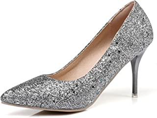 Women's Sexy Sequins Pointed Toe Low Cut Bridal Shoes Stiletto High Heel Slip on Pumps
