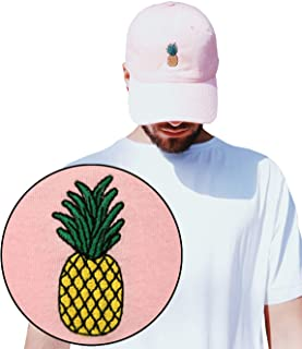Riot Society Pineapple Embroidered Adjustable Dad Hat (One Size Pink)