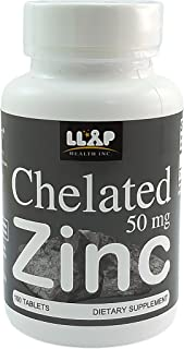 Chelated Zinc (Zinc gluconate) 50 mg, 100 coated tablets for 100 servings. Easy to Swallow. Made in USA