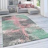 Paco Home Wohnzimmer Teppich, Moderner Kurzflor in Pastell Farben, Vintage Galaxy Muster, Grösse:160x230 cm, Farbe:Mehrfarbig 2
