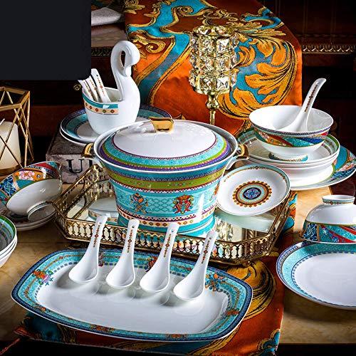 YLJYJ De vajilla de cermica de Plato de Cena, Juego de vajilla de Porcelana de Alta Gama de Estilo Europeo con Olla de Sopa y Cuenco de Cereal  48 Piezas