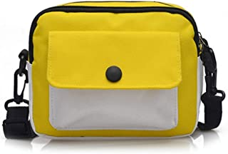 YXHM AU New Canvas Small Square Bag Fashion Wild Small Bag Double Mouth Shoulder Diagonal Change Mobile Phone Bag (Color : Yellow)