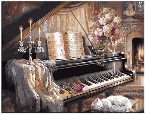 LIWeißY Klavier- em e Durch Zahlen DIY Handgemalte Wandbilder F ung by Zahlen Digitales  em e Decor, Mit Rahmen, 50x6cm