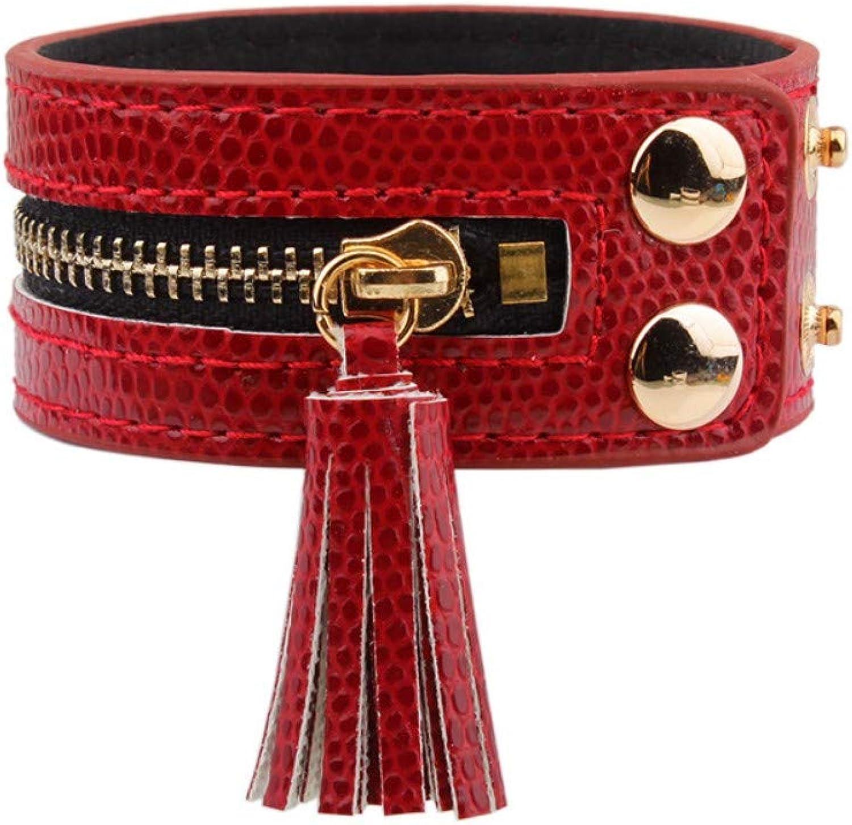 Bracelet Men,Fringed Buttons Red Bracelets & Bracelets Zipper Leather Bracelets Ladies Fashion Handmade Ladies Bracelet Jewelry
