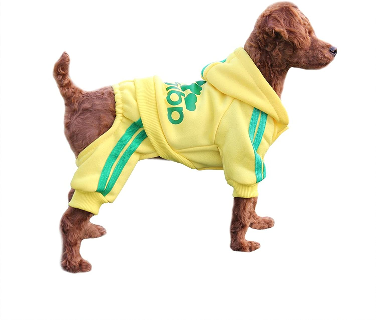 EastCities Winter Hoodie for Large Dog Warm Coat Sweater Four Legs Pet Clothes,Yellow 3XL