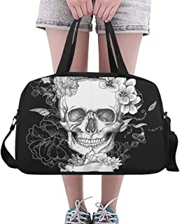 TFONE Sugar Skull Cat Duffel Bag Sports Gym Weekend Bags with Shoe Compartmen