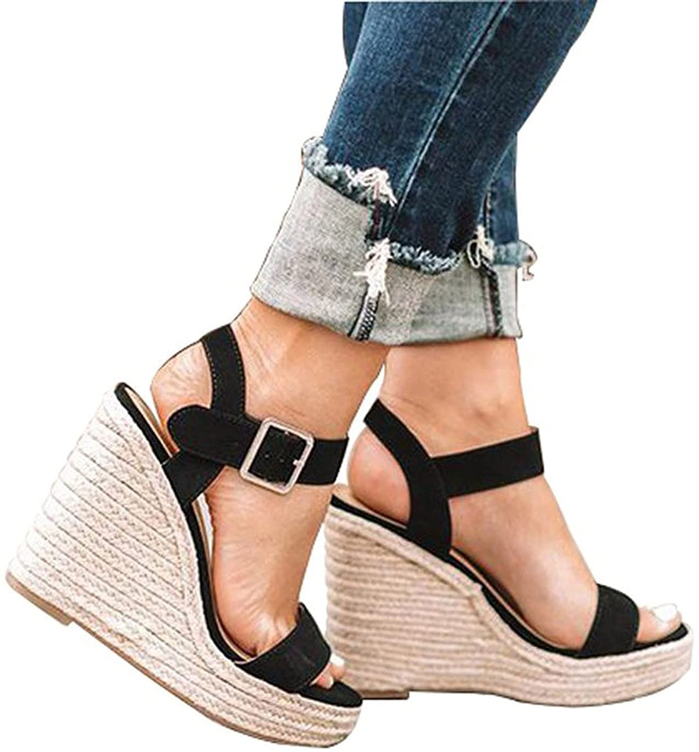 Cyrwrbire Womens Sandals Espadrille Ankle Strap Wedge Sandals Casual Summer Open Toe Strappy Platform Sandals