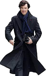 Sherlock Holmes Benedict Cumberbatch Charcoal Grey Wool Long Trench Coat Jacket