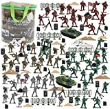 BeebeeRun 250 PCS Army Men Army Soldier Plastic Toys, Military Action Figures Playset with Tanks, Planes, Flags, Soldier Figures, Fences,Border Walls and Accessories