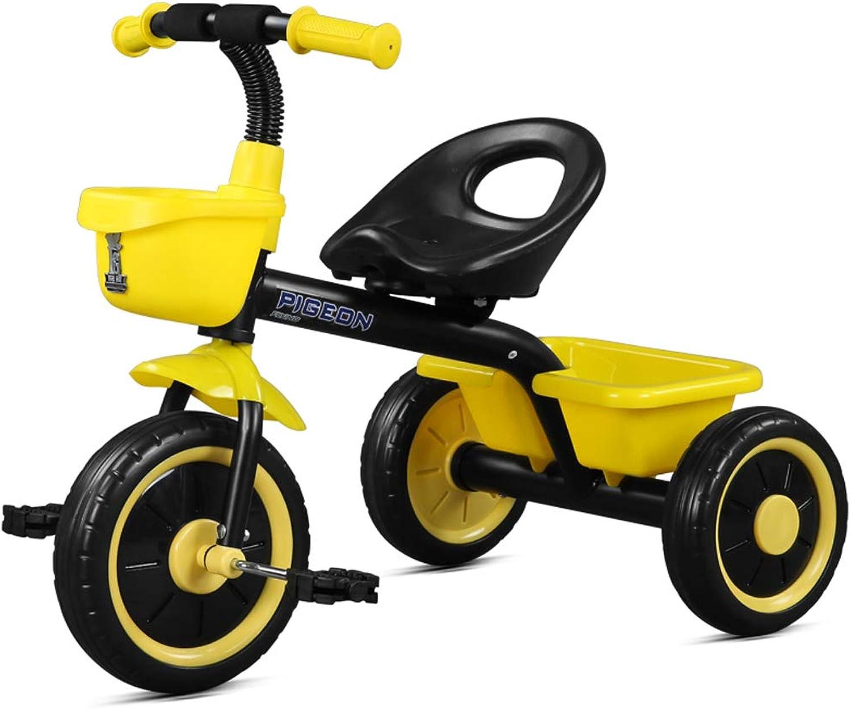 Lychez Kinder Dreirad Kinderwagen 2-5 Jahre alt Baby Fahrradsitz kann zurück und weiter justiert Werden (Farbe   Gelb)