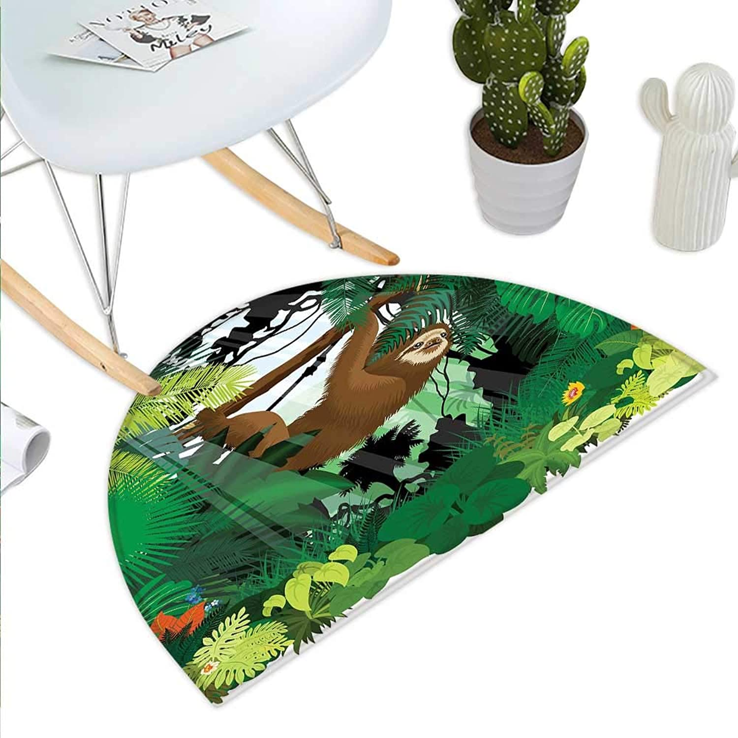 Sloth Semicircle Doormat Vibrant Exotic Rainforest with Various Plants and Sloth Hanging on a Tree Wildlife Halfmoon doormats H 43.3  xD 64.9  Green Brown