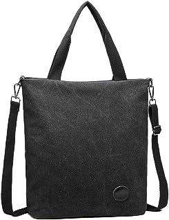 Kono Damen Leinwand Handtasche Schultertasche Casual Multifunktionale Umhängetaschen Groß für Arbeit Schule Shopper Täglich Schwarz