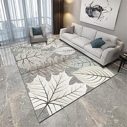 terrassendeko Grauer Wohnzimmer Teppich weicher Kristall Samt Blattdruck Lounge Ecke weicher Teppich 80X160CM 2ft 7.5' X5ft 3'