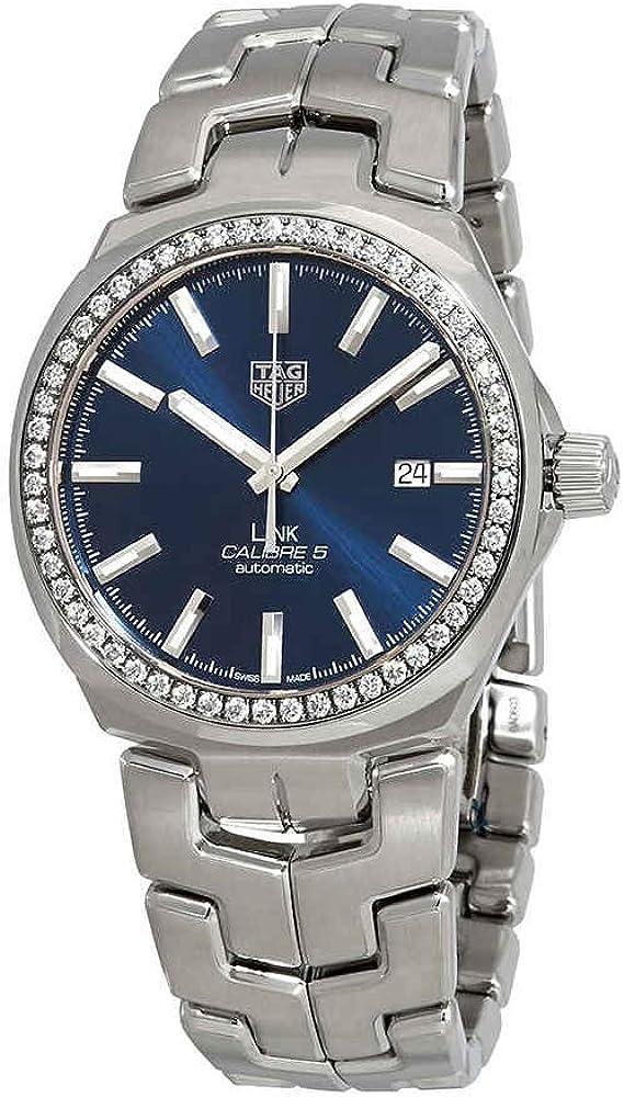 Tag heuer link caliber 5, orologio automatico per uomo,  in acciaio inossidabile, ghiera con 54 diamanti WBC2113.BA0603.