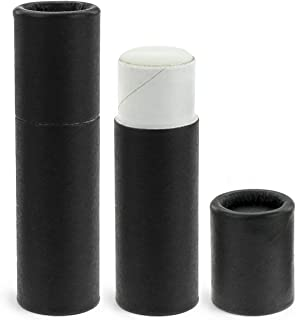 50 Pack, 0.3 oz, Inventiv Paperboard Lip Balm Tubes, Recyclable Cardboard Chapstick Containers, Kraft Paper (Matte Black)